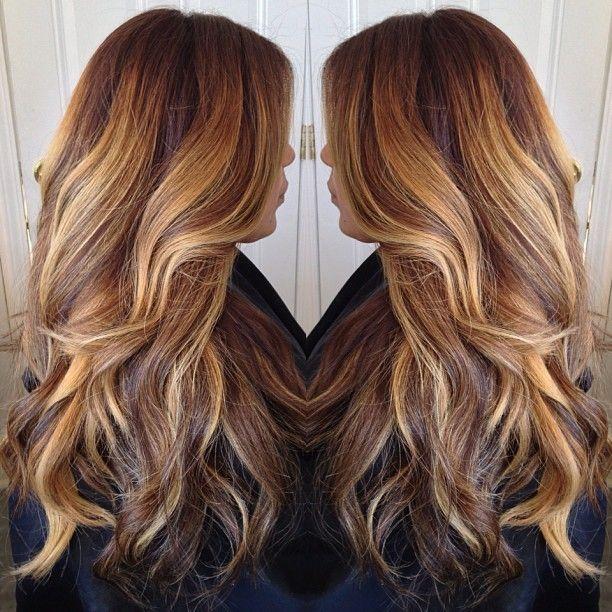 dark brown to chocolate dark brown to light golden blonde highlights