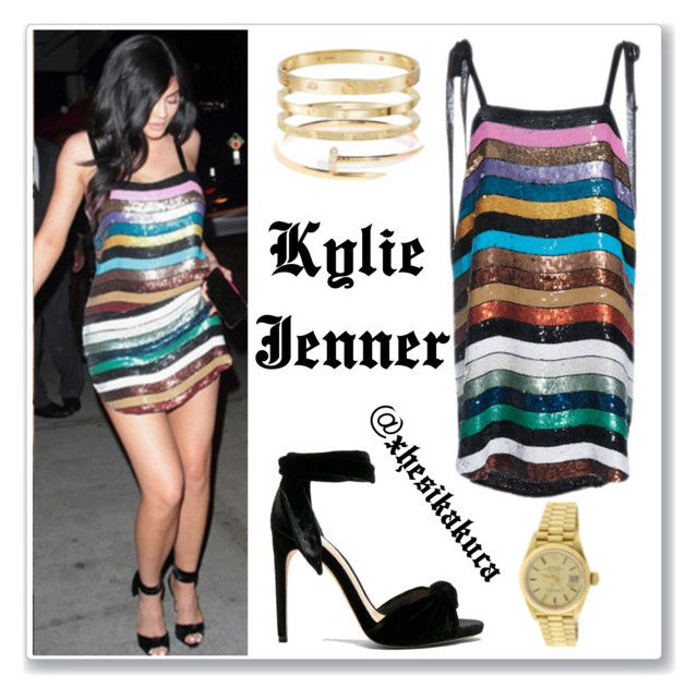 """""""Kylie Jenner Stripe Sequin Dress, Black Sandals"""" by xhesikakuca ❤ liked on Polyvore"""