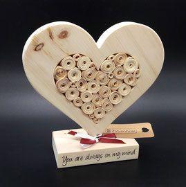 Ausgefallene Hochzeitsgeschenke, originelle Geschenke und Geschenkideen aus Holz zur Hochzeit! Persönliches Geschenk mit Namen und Gravur aus Zirbenholz!