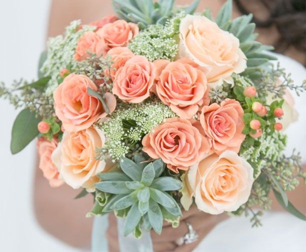 mint and peach bouquet