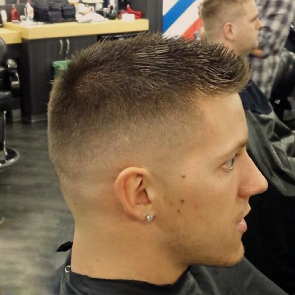 Crewcut with bumper and buzzed sides