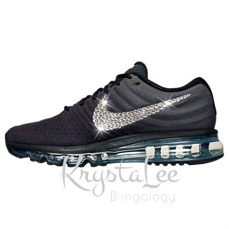 Womens Nike Air Max 2017 Black Custom Bling Crystal Swarovski Sneakers, Running Shoes, Tennis Shoes, Nikes