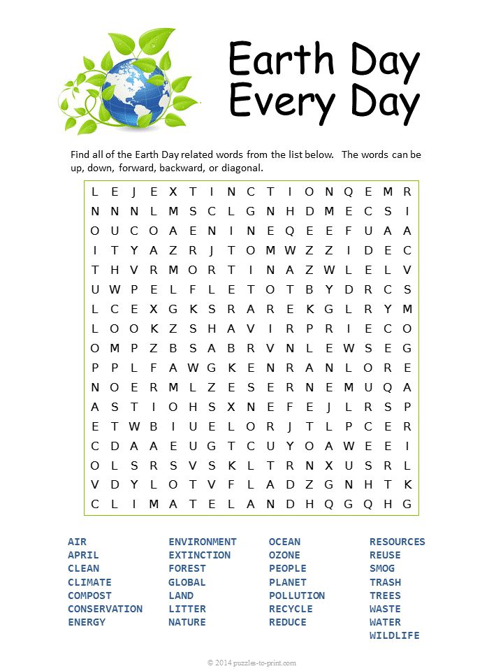Free Printable Earth Day Word Search School Word