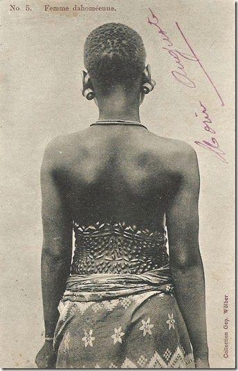 "postcard, ca. 1900, Benin Republic, captioned ""A cunning Hausa"""