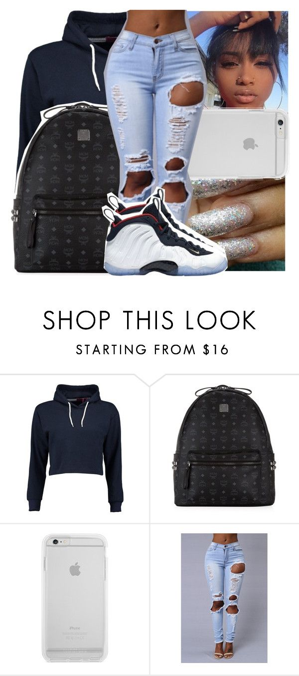 """— she's a bad thang . fine asl . thick af . ✨"" by ayooshaanti ❤ liked on Polyvore featuring Boohoo, MCM and NIKE"