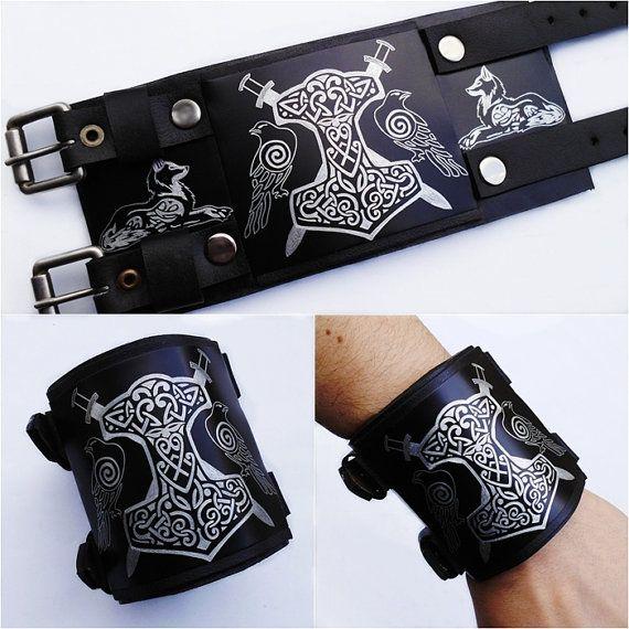 Thors Hammer Norse Viking Leatherbracelet Wristband Armband By