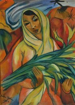 MALAY WOMAN HOLDING ST. JOSEPH'S LILLIES By Irma Stern ,1924