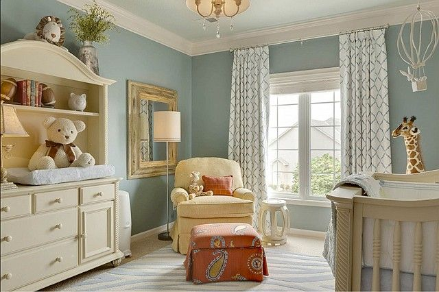 "Benjamin Moore Color...""james river gray."" Perfect bluish gray. Wonderful nursery color too:)"