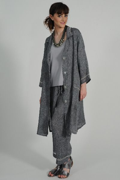 Fringe linen duster coat, Hoppa linen pant, Sandi knit tee, Carme Anglada necklace, Petrol pewter leather sandal