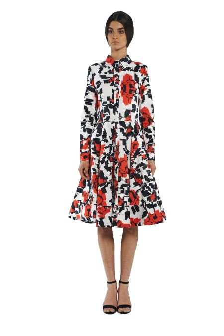8cee4c5f6b0f3 Cotton midi dress on the buttons with long sleeves