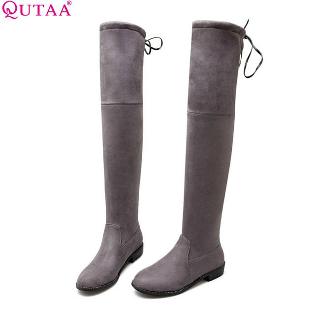Check lastest price QUTAA 2017 Square Low Heel Woman Stretch Fabric Over The Knee Boots Women Shoes Bow Tie Ladies Motorcycle Boots Size 34-43 just only $28.13 with free shipping worldwide  #womenshoes Plese click on picture to see our special price for you