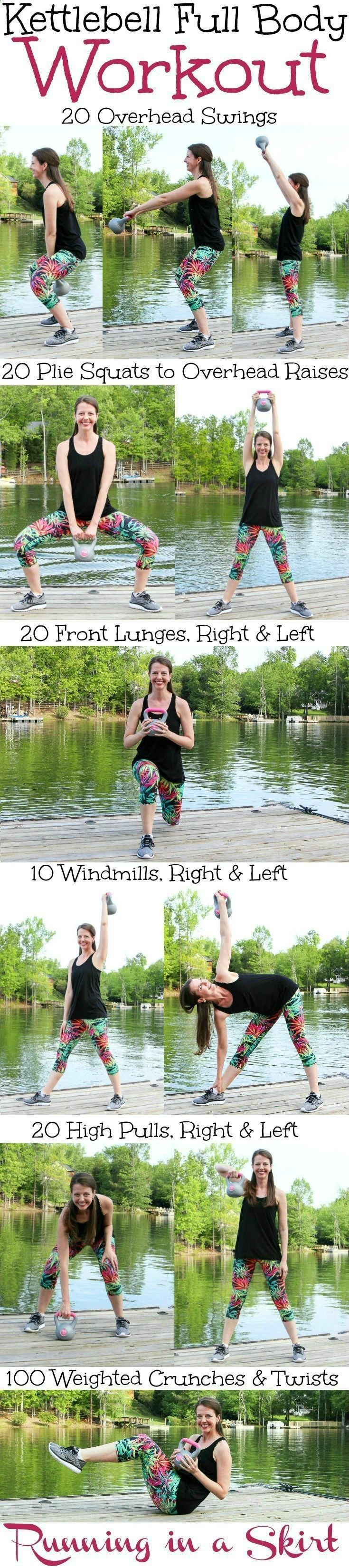 Kettlebell Full Body Workout! A fat burning, at home routine for arms, upper body, abs, glutes and legs that gets results! Also gets the heart rate up with cardio. Great to tone it up with simple moves even a beginner can do. Add more reps for advance