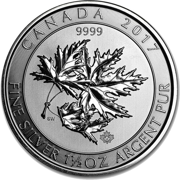 "The 2017 Canadian SuperLeaf 1.5oz Silver Coin shows Susanna Blunt's design of Her Majesty Queen Elizabeth II, along with the $8 face value. The reverse shows the maple leaf image used on the ""Million Dollar Maple Leaf"", with weight and purity listed. Like the smaller Maple Coins it shows the new micro-engraved maple leaf privy mark shows a ""17"" when viewed under magnification."