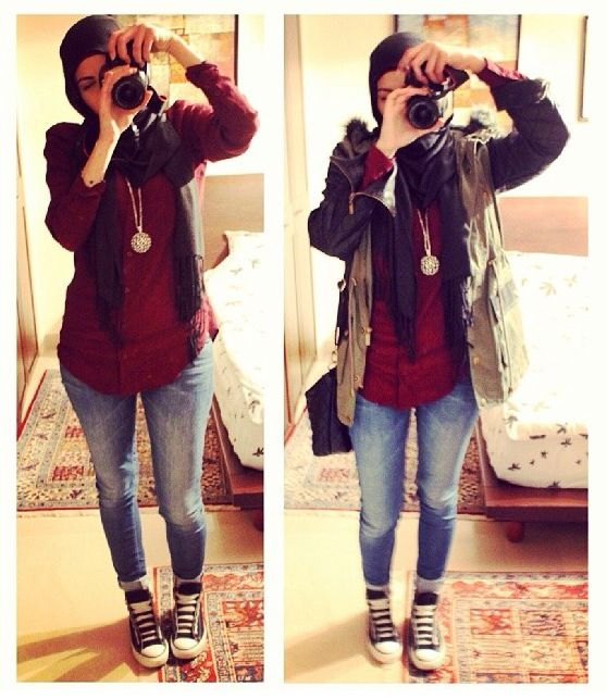 ❤️love this outfit Casual. Hijab. Red top