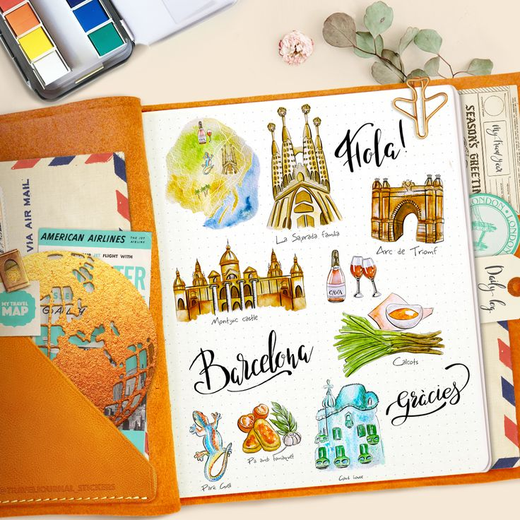 Spain travel journal stickers. 30 PNG stickers. # ...
