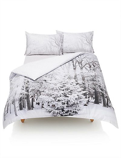 Pure Cotton Digital Snow Forest Print Bedding Set Home