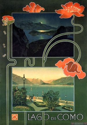 Lago di Como posr from1900 Italy - Beautiful Vintage Poster Reproductions. Italian travel poster features a day and evening view of the lake with flowers wrapping around the two frames. Giclee Advertising Print. Classic Posters