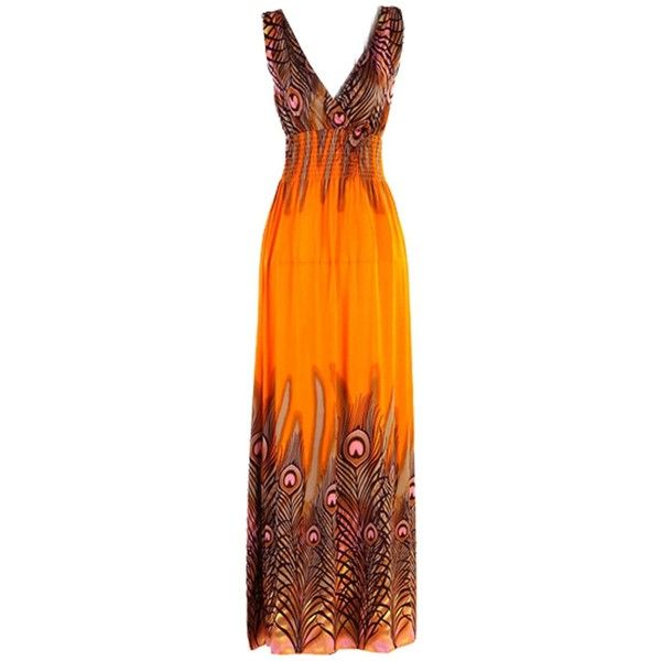 Zeagoo Women's Bohemian Peacock Tail Hawaiian V-neck Long Beach Dress... ($15) ❤ liked on Polyvore featuring dresses, maxi dresses, gown, long sun dresses, long dresses, v neck maxi dress, orange sundress and orange maxi dress