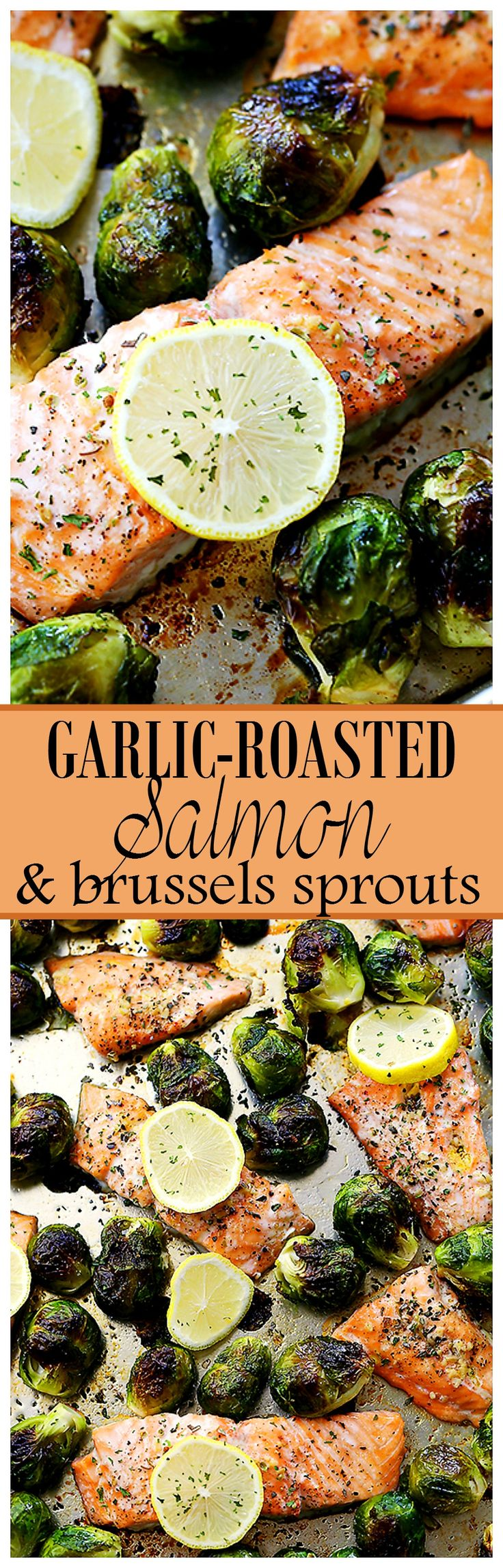 One Sheet Pan Garlic Roasted Salmon with Brussels Sprouts | www.diethood.com | Incredibly delicious, garlicky, super flavorful one-pan dinner with oven-roasted salmon and brussels sprouts.