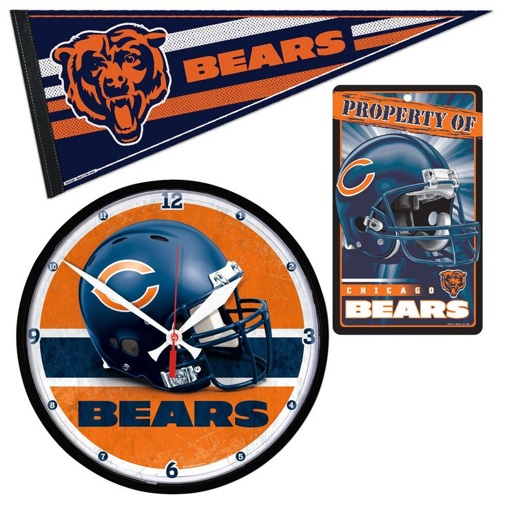 Chicago Bears NFL Ultimate Clock, Pennant and Wall Sign Gift Set