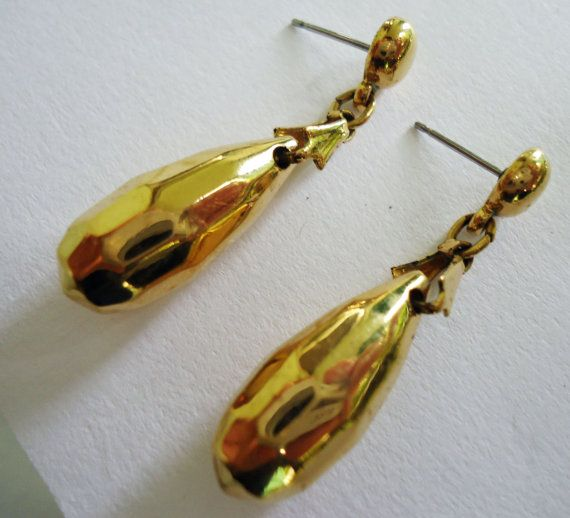 Vintage Gold tone dangle earrings drop studs by Shabyas on Etsy, $5.99