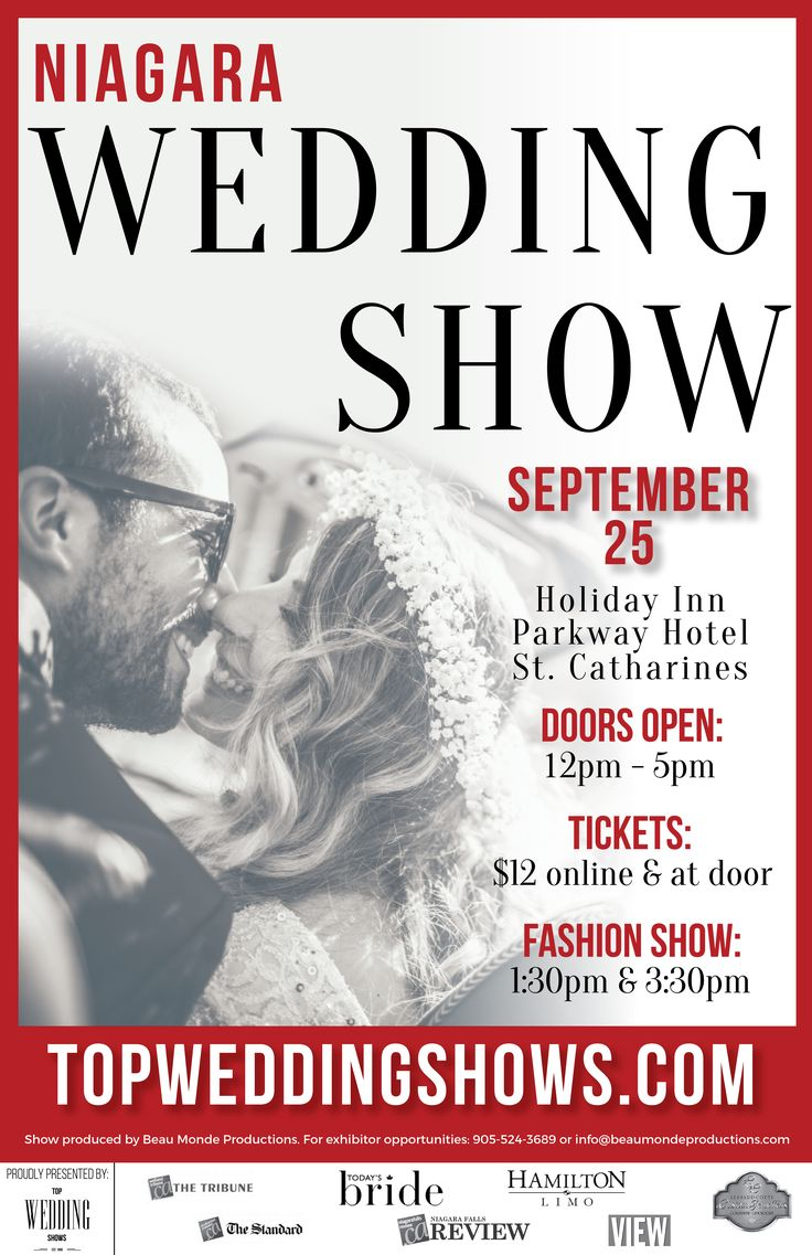 "The Niagara Autumn Wedding Show is quickly approaching on September 25 at the Holiday Inn Parkway Hotel in St. Catharines. Grab your tickets now and you will get $2 off your ticket price with coupon code ""FBH16"". Save 50% off admission when you come to the show between 2pm-5pm with coupon code ""FBH50"". http://bit.ly/2bGi6X6"