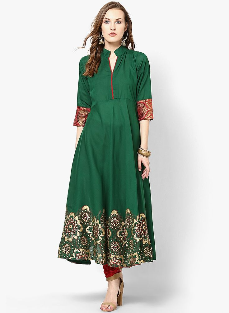 Wear something that is you in a different way. #GoDesi #Anarkali SHOP HERE--> http://www.jabongworld.com/green-printed-anarkali-813978.html