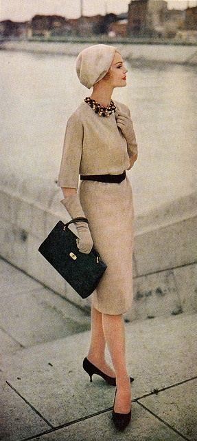 Ladies Home Journal - Nov 1960...big bead choker necklaces were popular with plain colored suits and dresses...often knit