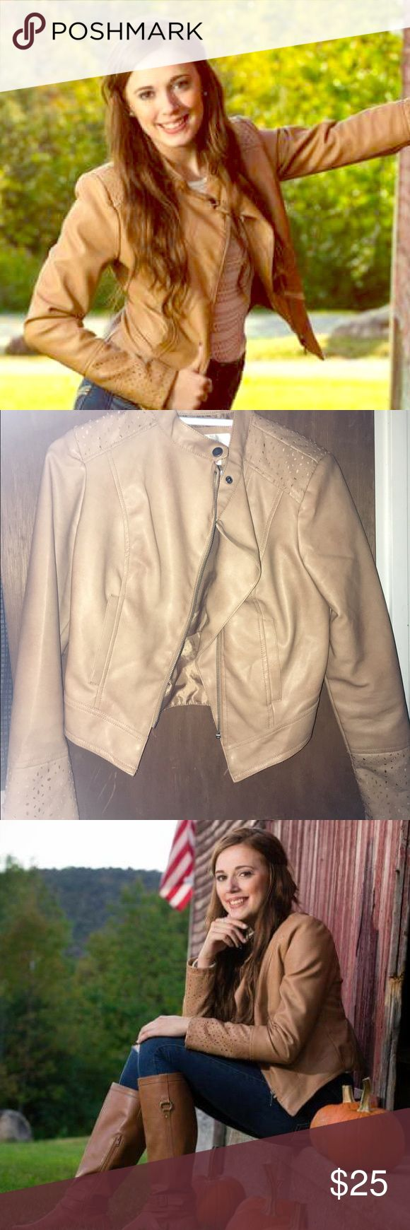 Tan Leather Jacket W/ Detailed Sleeves Faux Leather Cropped Jacket, minimal wear. Size medium but runs a little smaller. I'll accept offers😊 Macy's Jackets & Coats Utility Jackets