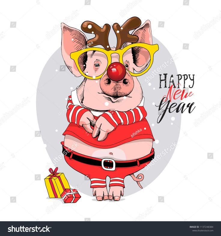 Днем, прикольные рисунки свиньи к новому году