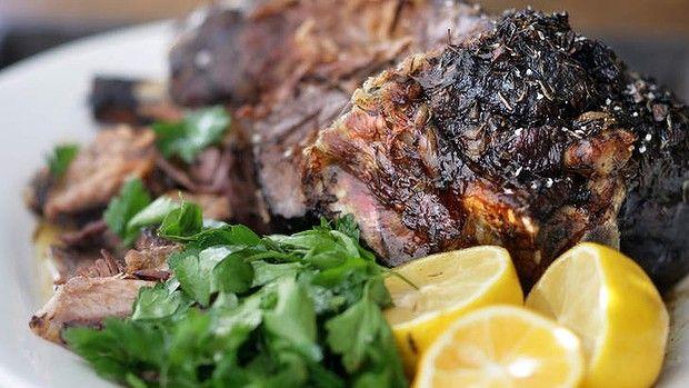 Slow-cooked Greek lamb.