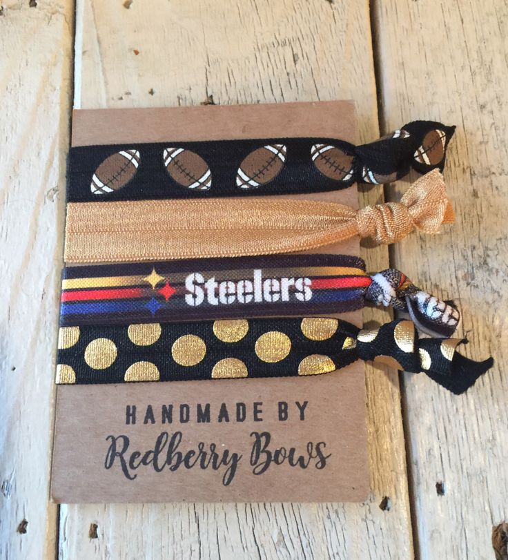 PITTSBURGH STEELERS FOOTBALL Hair Ties- set of four football hair ties or wrist bracelets by redberrybows on Etsy https://www.etsy.com/listing/501510669/pittsburgh-steelers-football-hair-ties