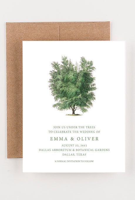 A woodsy, rustic save-the-date card from @seahorsebend | Brides.com