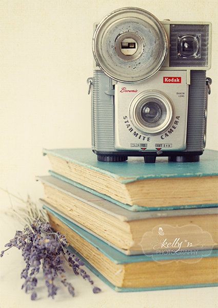 Vintage and Volumes- Vintage Camera and Books- Blue, Grey, Lavender- Cottage Chic- Still Life Photograph- Retro- 5x7 Fine Art Print. $12.00, via Etsy.