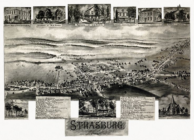Vintage Map of Strasburg Pennsylvania 1903 Lancaster County Poster