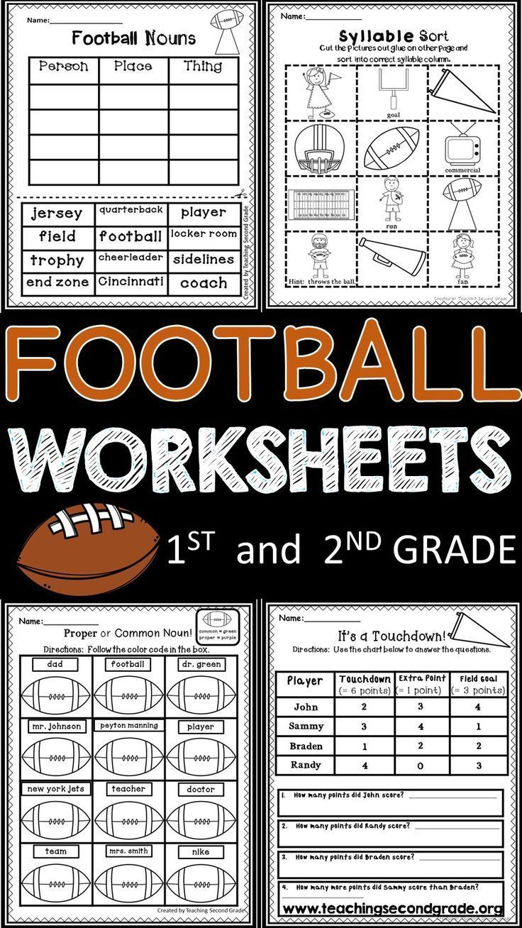 Football Math And Literacy Worksheets For 1st And 2nd Grade Students Also Includes Super Bowl Activities Literacy Math Activities Second Grade