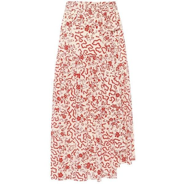 Isabel Marant Grifol Printed Stretch-Silk Skirt found on Polyvore featuring skirts, red, midi & long, mid-calf skirts, calf length skirts, long pink skirt, isabel marant skirt and long midi skirt