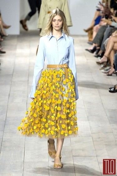 Organza yellow midi skirt