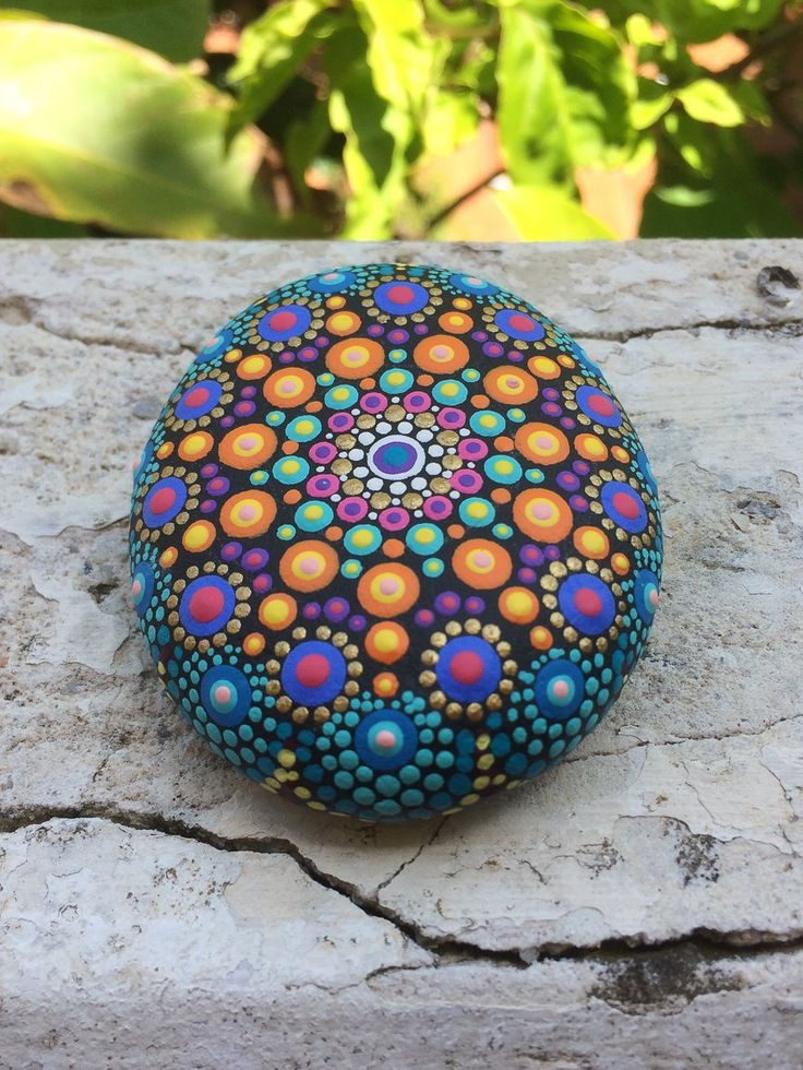 Hand Painted Mandala Sea Stone