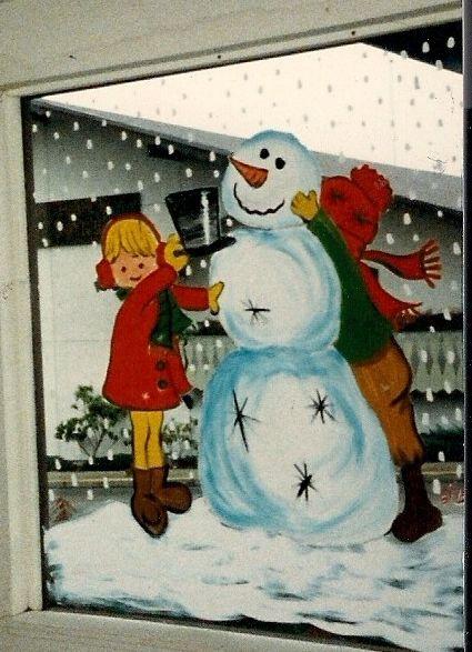 Snowman window painting