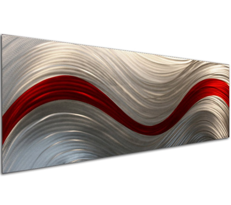 Red and Silver Abstract Art 'Entropy' 44x16 in by ChromaMetalArt