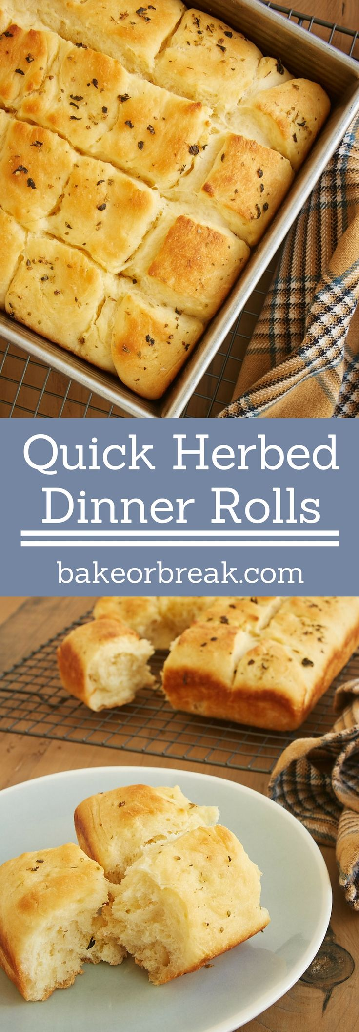 Quick Herbed Dinner Rolls make yeast baking so easy. They mix quickly and only need a short time to rise. And they are wonderfully soft and oh so delicious! - Bake or Break ~ http://www.bakeorbreak.com