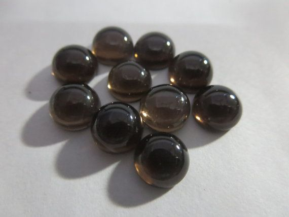 sale & ship free NATURAL SMOKY QUARTZ round cabochon by 8gemsinc, $1.99