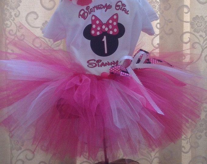 Cumpleaños de Minnie Mouse, Minnie Mouse 1 º cumpleaños, traje Tutu de Minnie Mouse, Minnie Mouse cumpleaños niña con nombre