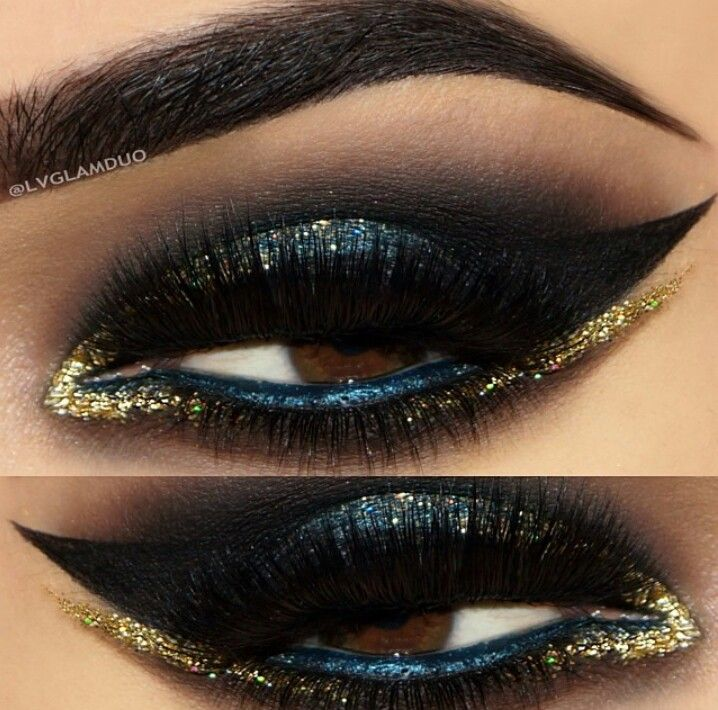 Blue & gold arabic eye makeup