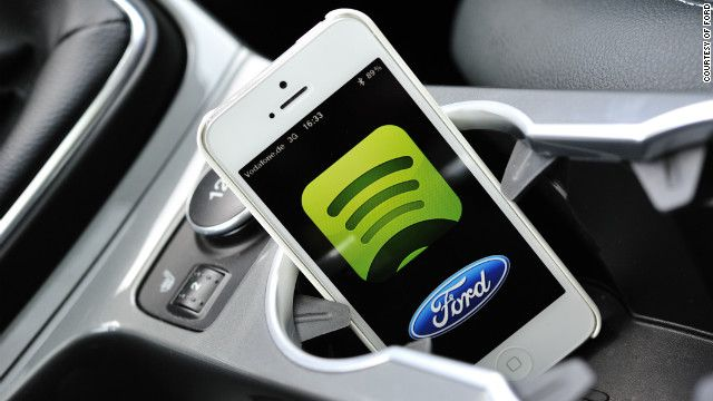 Ford has teamed up with Spotify to bring the music-streaming service to its Ford Sync AppLink cars in Europe. It's Ford SYNC AppLink allows drivers to control smartphone apps from the driver's seat, using voice control.
