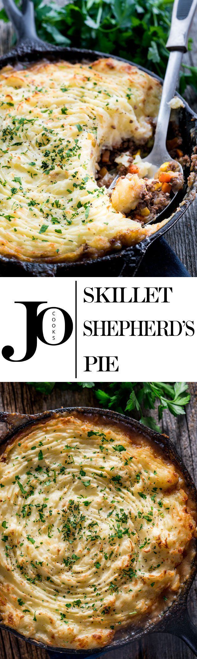 This skillet shepherd's pie is loaded with flavorful beef and veggies then topped with fluffy and creamy mashed potatoes, then baked to perfection!