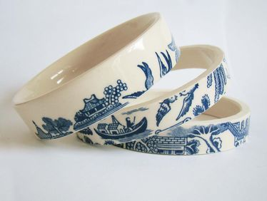 Blue-willow tea bangles made from upcycled vintage tea cups.