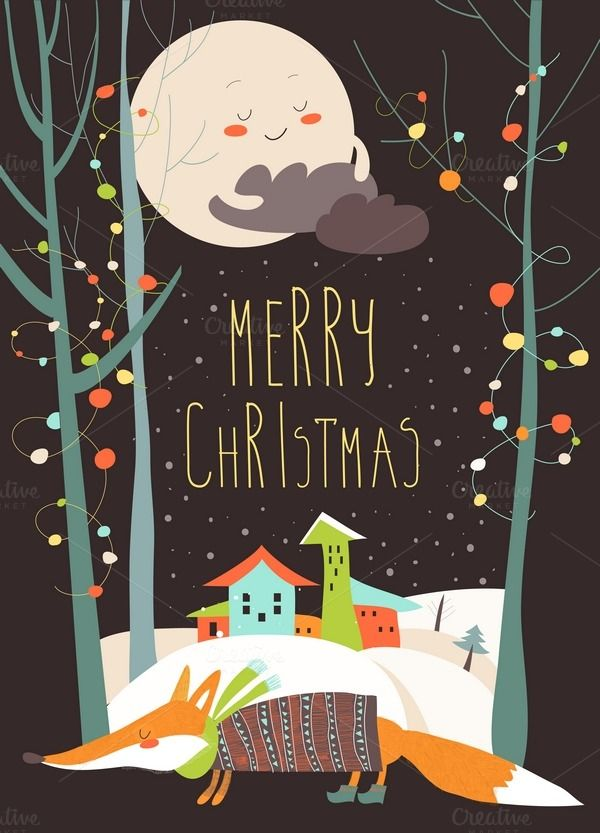 Greeting card with fox and town  by masastarus on @creativemarket