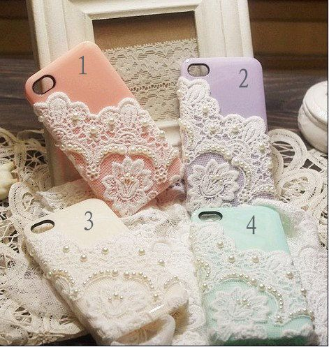 So pretty! Phone cases with doilies and pearls. first, i need a phone.